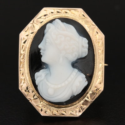 Vintage 10K Yellow Gold Carved Onyx Cameo Brooch