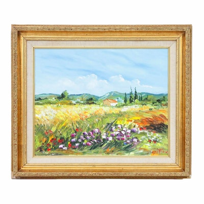 Impressionist Style Oil Painting of Rural Field Landscape