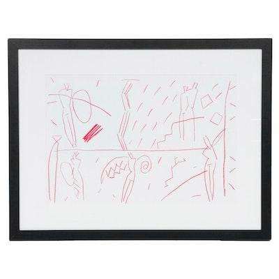 Kuroda Aki Double-Page Lithograph for Galerie Adrien Maeght, 1985