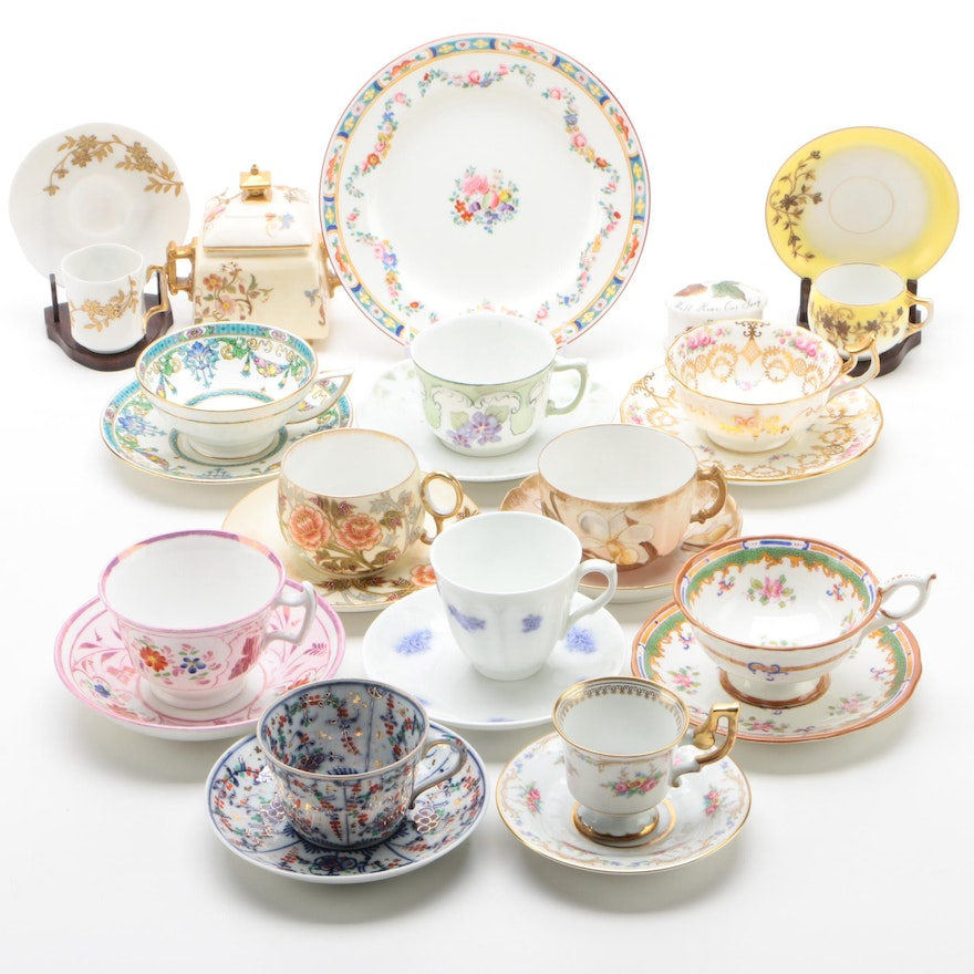 European Teacup and Saucer Collection Including Minton, Coalport, and More