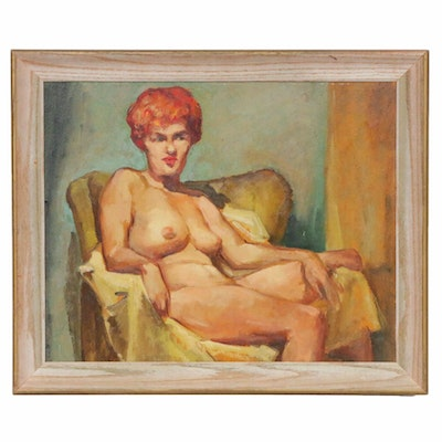 Seated Female Nude Oil Painting, Mid to Late 20th Century