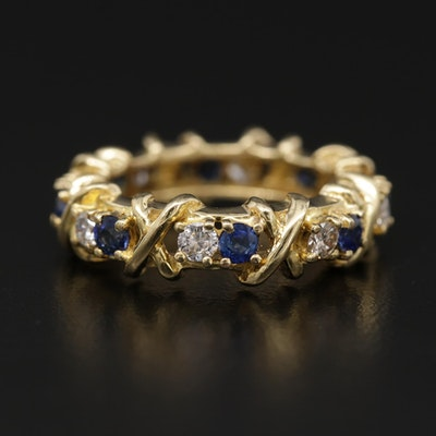 18K Yellow Gold Blue Sapphire and Diamond Eternity Band