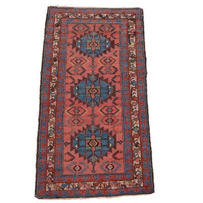 3'3 x 6'5 Hand-Knotted Persian Hamadan Wool Rug, circa 1920
