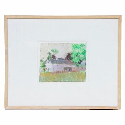 "Larry Horowitz Pastel Drawing ""Farm Upstate NY,"" Late 20th Century"
