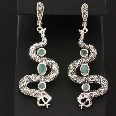 Sterling Silver Beryl, Ruby and Marcasite Serpent Dangle Earrings