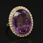 14K Yellow Gold 20.04 CT Amethyst and Pearl Ring