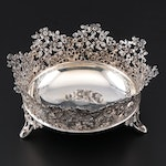 Contanessi Alessandro of Florence Sterling Silver Bowl with Pierced Floral Rim