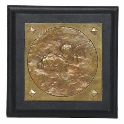 Copper Repoussé Cherub Plaque