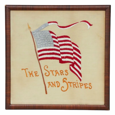 """""""The Stars and Stripes"""" Embroidered Panel, circa 1900"""