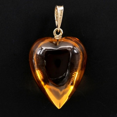 14K Yellow Gold Carved Citrine Heart Pendant
