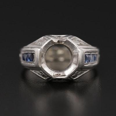Platinum Synthetic Sapphire Semi-Mount Ring
