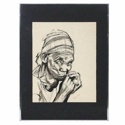 Art Bacon Portrait Ink Wash Drawing, Mid to Late 20th Century