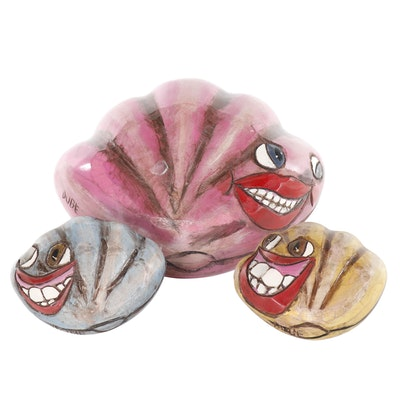 Hand-Painted and Carved Wood Folk Art Clamshell Sculptures