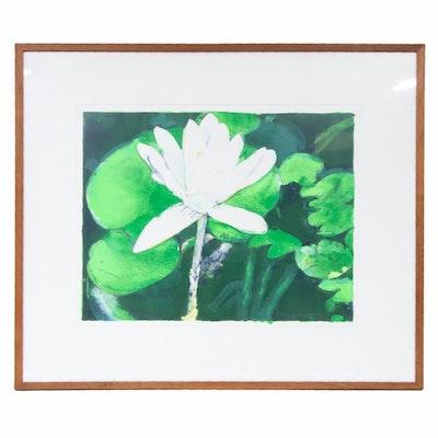 """Joseph Raffael Color Lithograph """"Winter Moon Lily,"""" 1978"""