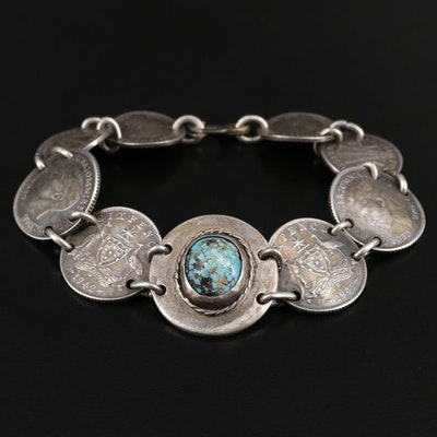 Sterling Silver Turquoise Bracelet Featuring 900 Silver Australian Coin Accents