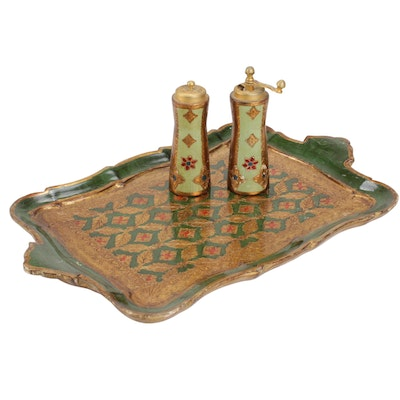 Florentine Hand-Painted Giltwood Serving Tray with Shakers, Mid-20th Century