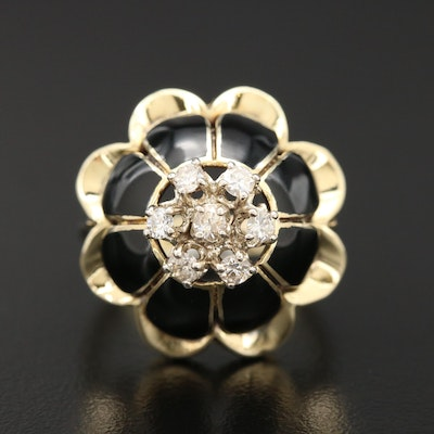 14K Yellow Gold Diamond Dome Ring with Enamel Accents