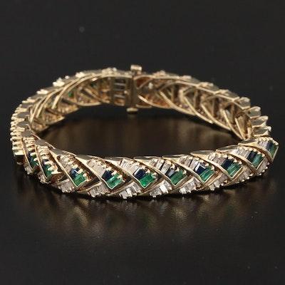 14K Gold 2.46 CTW Diamond, Emerald and Sapphire Link Bracelet