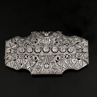 Edwardian Platinum 2.35 CTW Diamond Brooch