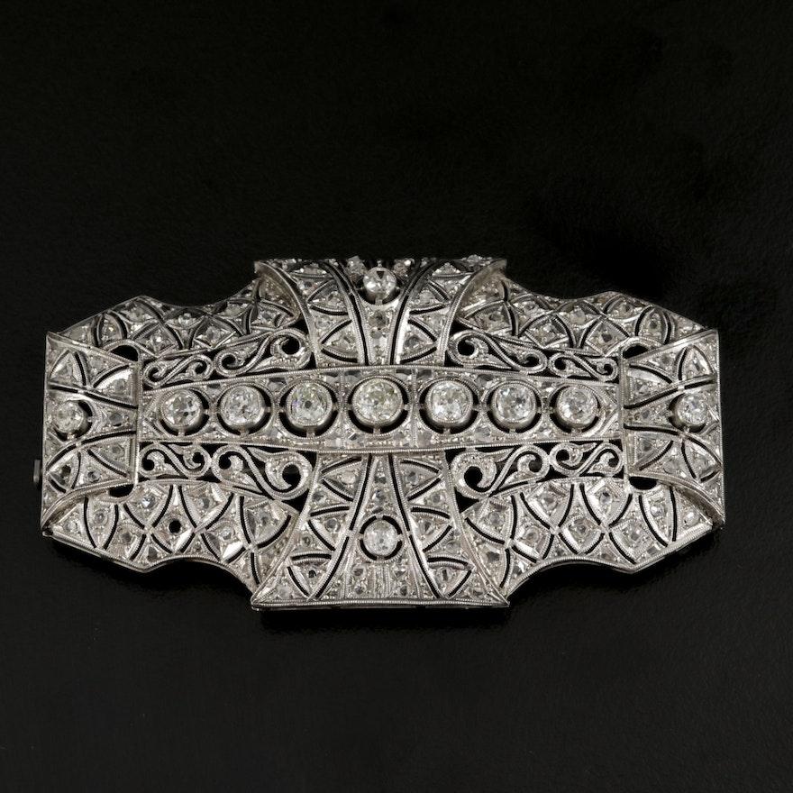 Edwardian Platinum 2.35 CTW Diamond Brooch