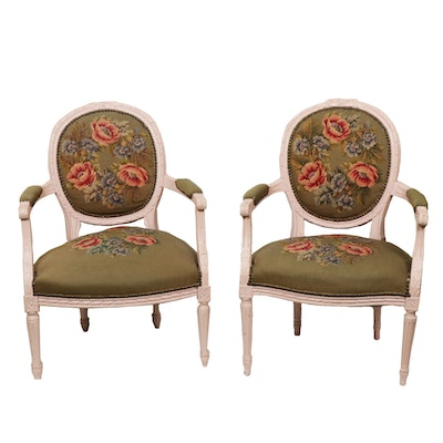 Louis XV Style Needlepoint Armchairs, Mid-20th Century