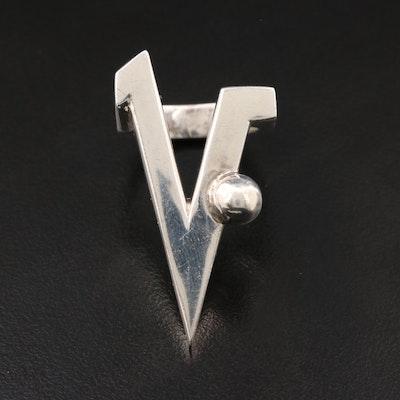 Sterling Silver 'V' Ring