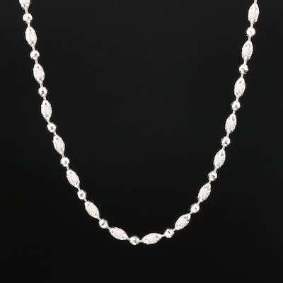 14K White Gold Textured Beaded Necklace