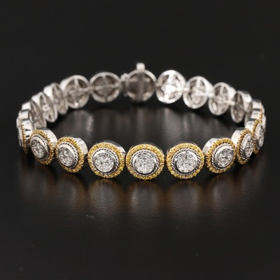 14K White Gold 3.03 CTW Diamond Cluster Bracelet