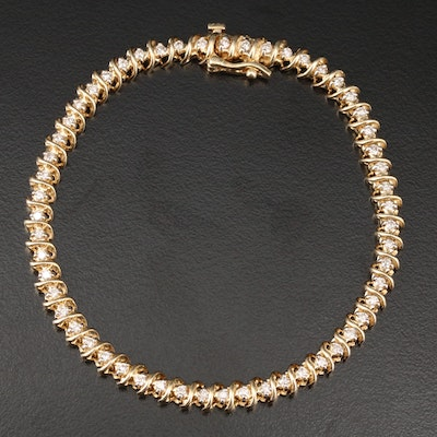 14K Yellow Gold 1.02 CTW Diamond Bracelet