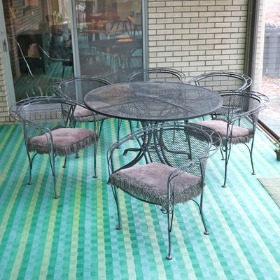Attributed to Woodard Furniture, Wrought Iron Patio Table and Six Chairs