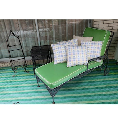 Wrought Iron Chaise Lounge, Nesting Tables and Display Shelf, Mid-20th Century