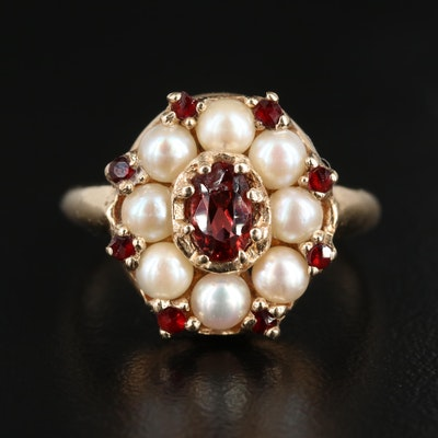 Vintage 14K Yellow Gold Garnet and Pearl Ring