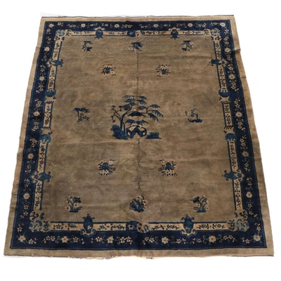 8'2 x 9'8 Hand-Knotted Chinese Nichols Floral Wool Rug