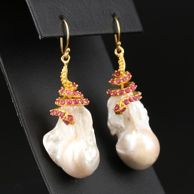 Sterling Silver Baroque Pearl and Ruby Snake Motif Dangle Earrings