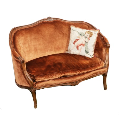 Victorian, Rococo Revival Walnut and Velvet Settee, Early 20th Century