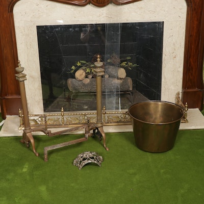 Brass Fireplace Fender, Andirons, and Bucket with Cast Metal Mantel Ornament