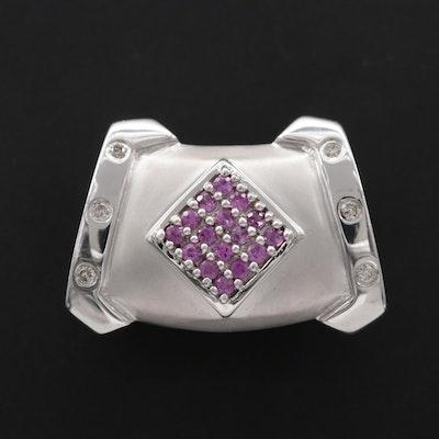 14K White Gold Pink Sapphire and Diamond Slide Pendant