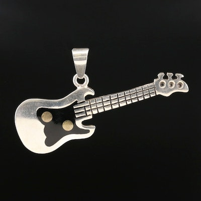 Mexican Sterling Silver Resin Electric Guitar Pendant