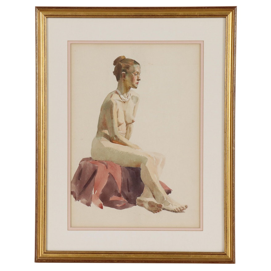 Edmond J. Fitzgerald Nude Figural Watercolor Painting