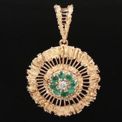 Vintage 14K Yellow Gold Diamond and Emerald Openwork Pendant