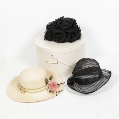 Fashion Hats Including Lazarus with Hat Box, Mid to Late 20th Century