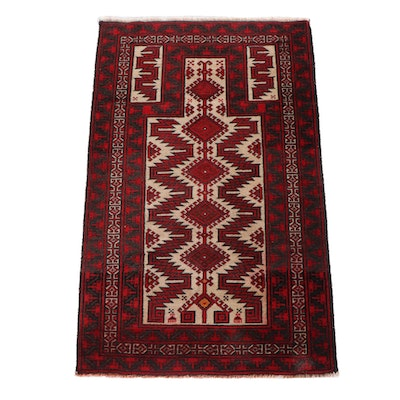 2'10 x 4'6 Hand-Knotted Persian Baluch Wool Prayer Rug