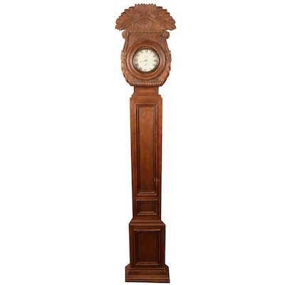 Spanish Carved Longcase Wooden Clock , Mid-20th Century