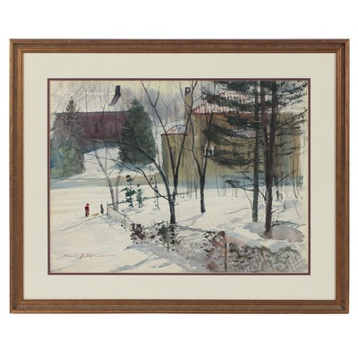 Edmond J. Fitzgerald Watercolor Painting of Winter Scene