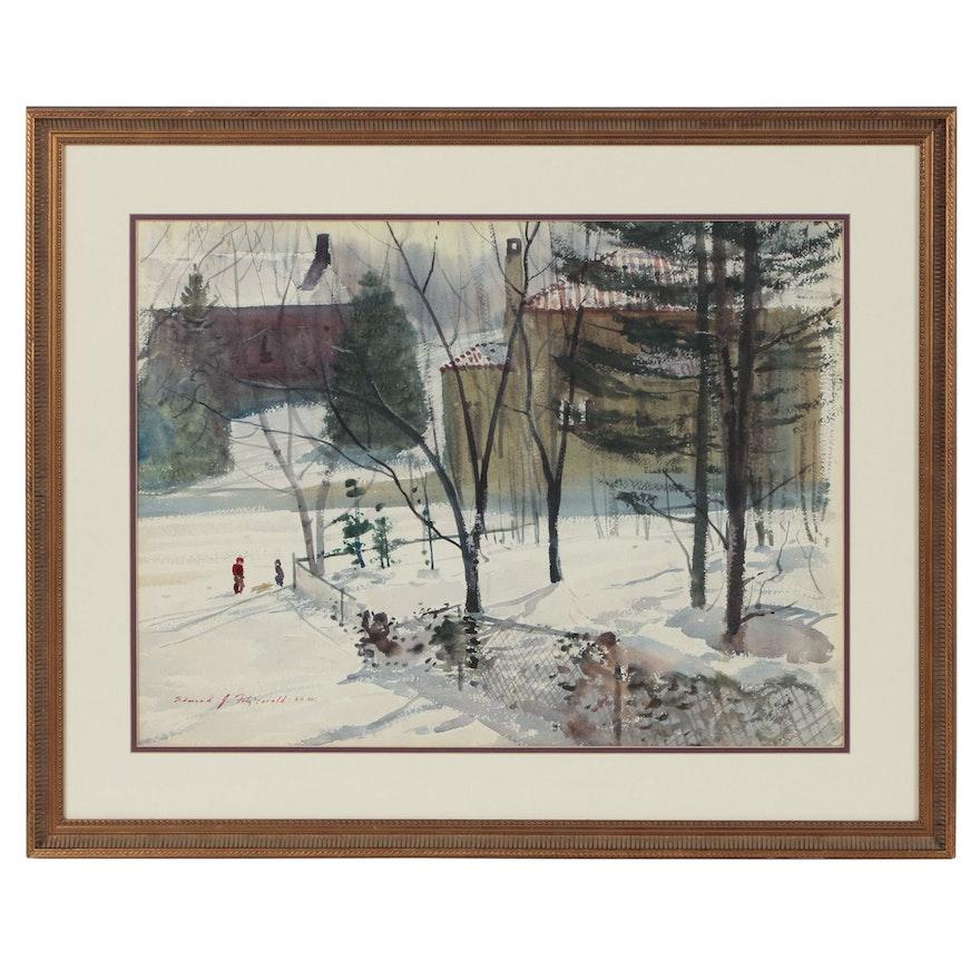 Edmond J. Fitzgerald Watercolor Painting of Winter Scene