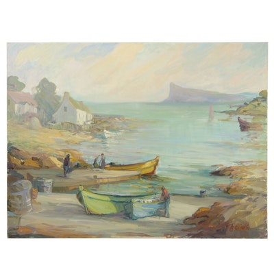 "Hugh O'Neill Monumental Oil Painting ""Harbour Day"""