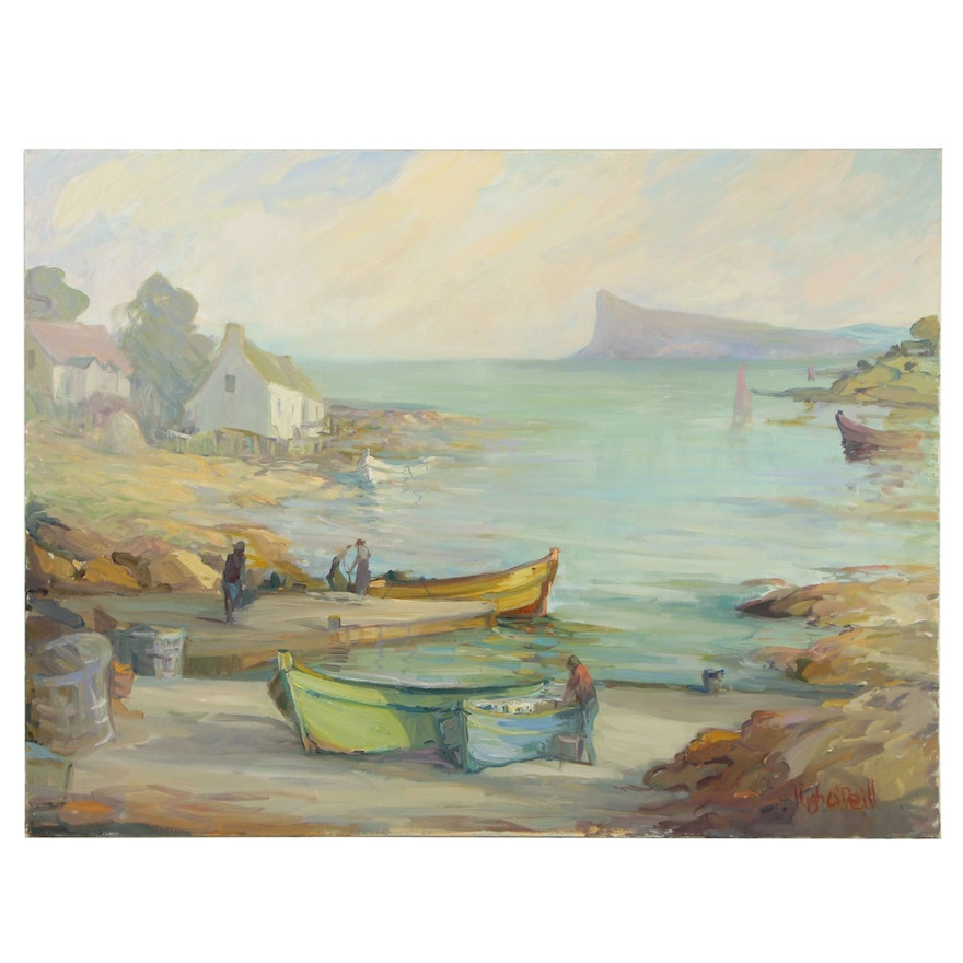 """Hugh O'Neill Monumental Oil Painting """"Harbour Day"""""""