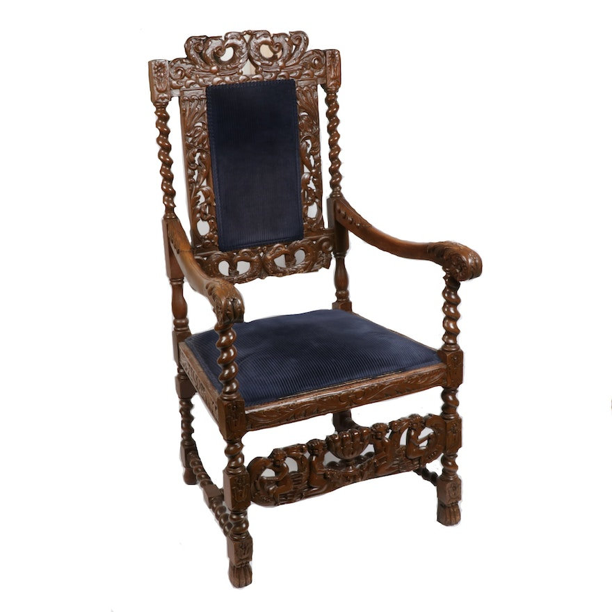 Rococo Revival Carved Armchair, Early to Mid 20th Century