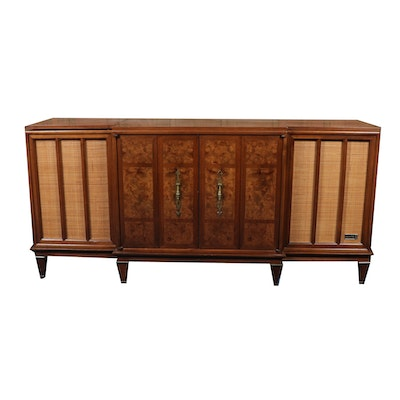 Zenith Wood and Cane Media Cabinet, Mid to Late 20th Century