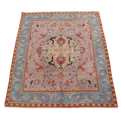 8'0 x 9'8 Hand-Knotted Indian Agra Wool Rug